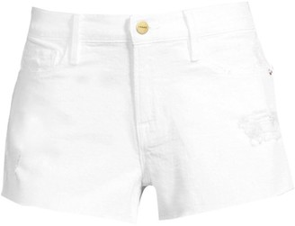 Frame Le Cut Off High-Rise Raw Tulip Hem Denim Shorts