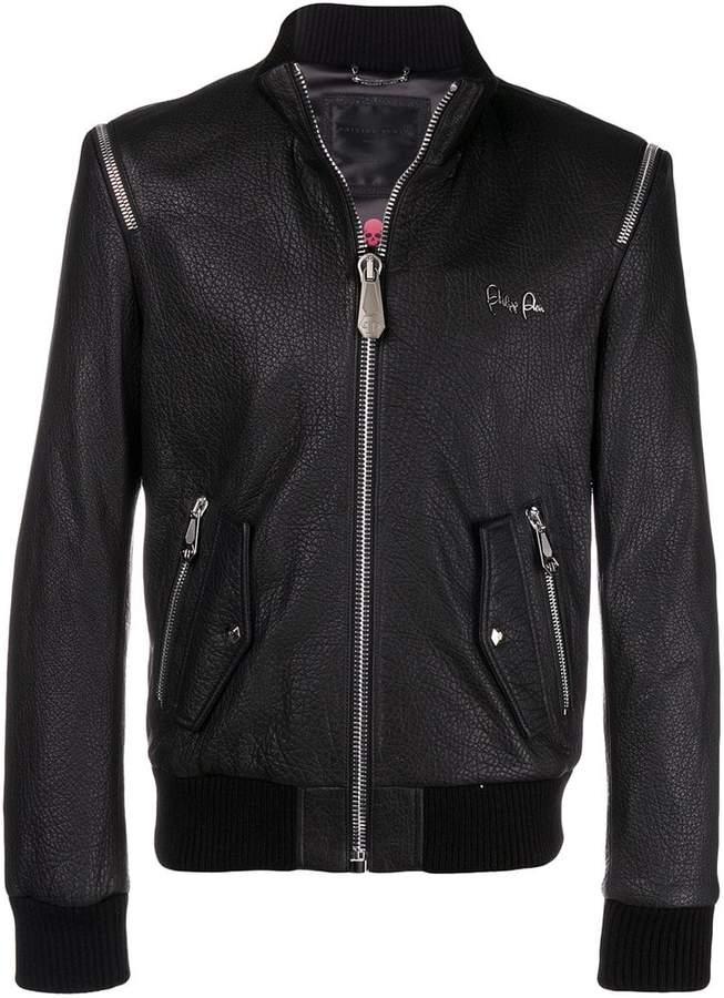 Philipp Plein shoulder zip leather jacket