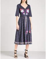 Temperley London Divine embroidered cotton-poplin wrap dress