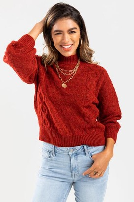 francesca's Diana Cable Knit Sweater - White