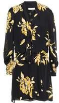 Joie Tie-neck Floral-print Silk-crepe Mini Dress