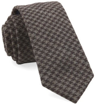 The Tie Bar Brown Brushed Cotton Houndstooth Tie