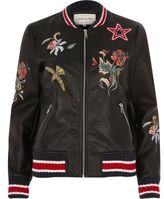 River Island Womens Black faux leather embroidered bomber jacket