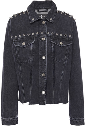 7 For All Mankind Frayed Eyelet-embellished Denim Jacket