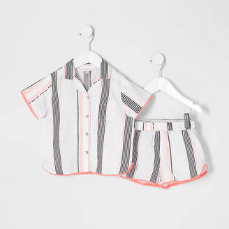 River Island Mini girls white print short pyjama outfit