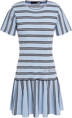 Love Moschino Crystal-embellished Striped Cotton Mini Dress