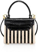 Thumbnail for your product : Nancy Gonzalez Tina Craig x Mini Lily Striped Crocodile & Raffia Top Handle Bag