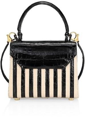 Nancy Gonzalez Tina Craig x Mini Lily Striped Crocodile & Raffia Top Handle Bag