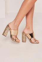 Missguided Gold Glitter Block Heel Mule Sandals