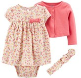 Carter's Child Of Mine By Child of Mine by Long Sleeve Cardigan, Headband & Short Sleeve Dress, 3Pc Set (Baby Girls)