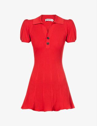 Self-Portrait Ribbed stretch-knit mini dress