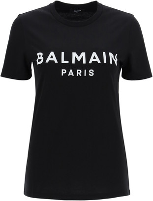 Balmain T-SHIRT WITH LOGO PRINT M Black, White Cotton