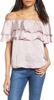 BP Women's Ruffle Satin Off The Shoulder Top
