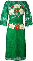 Rhea Costa - flower print lace dress - women - Silk/Viscose - 48