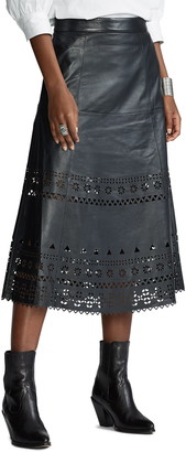 Polo Ralph Lauren Perforated Lambskin Leather A-Line Midi Skirt