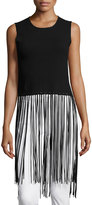 Romeo & Juliet Couture Sleeveless Ribbed Fringe Top, Black