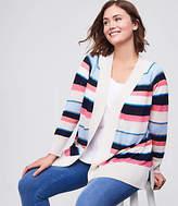 LOFT Plus Striped Sheer Open Cardigan