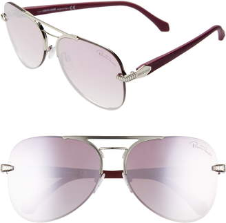 Roberto Cavalli 60mm Mirrored Aviator Sunglasses