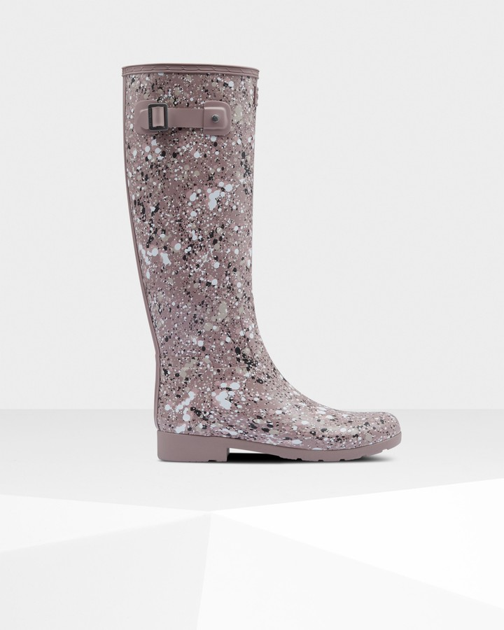 Hunter Women's Refined Particle Print Slim Fit Tall Wellington Boots