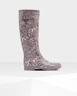 Hunter Women's Refined Particle Print Slim Fit Tall Rain Boots