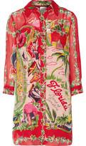 Anna Sui Florida: Land Of Sunshine Printed Silk-Chiffon Jacquard Mini Dress