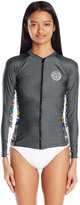 Rip Curl Women's Wetty Long Sleeve Front Zip Uv Rashguard with Printed Side Panels