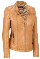 Black Rivet Womens Center Zip Leather Scuba
