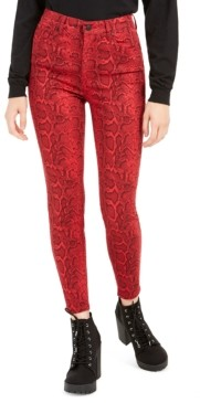 Celebrity Pink Juniors' Printed Colored-Wash Skinny Ankle Jeans