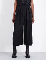 McQ by Alexander McQueen Dropped-crotch high-rise stretch-wool trousers