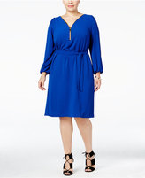INC International Concepts Plus Size Zip-Neck Belted Dress, Only at Macy's
