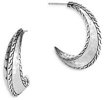 John Hardy Sterling Silver Dot Hammered J Hoop Earrings