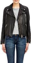 Barneys New York Women's Lambskin Moto Jacket-BLACK