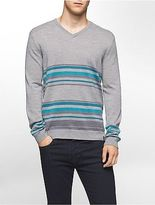 Calvin Klein Mens Striped Merino Blend V-Neck Sweater