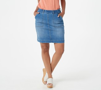 Denim & Co. Pull-On Denim Skort with Knit Short