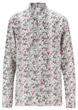 HUGO BOSS Tie Neck Blouse In Pure Silk With Heart Print - Patterned