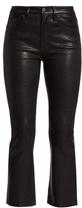 Frame Le Crop High-Rise Mini Bootcut Leather Pants