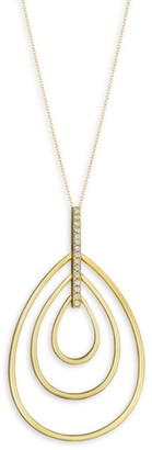 Carelle Moderne Diamond & 18K Yellow Gold Trio Teadrop Pendant Necklace