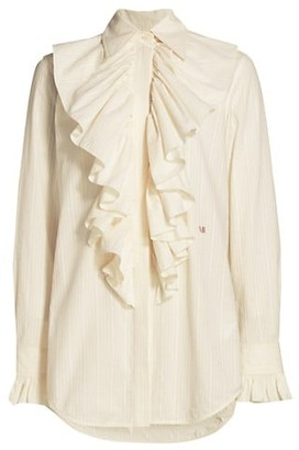 Victoria Beckham Ruffle Front Pinstripe Shirt
