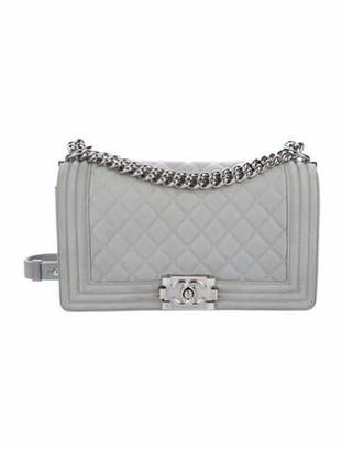 Chanel Medium Caviar Boy Bag silver