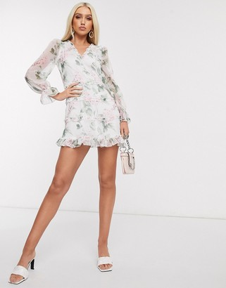 Parisian tea dress with tiers in blossom floral