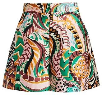 La DoubleJ Printed Silk Wide-Leg Shorts