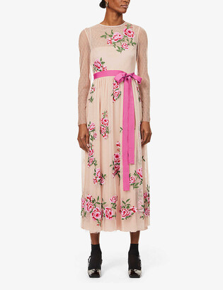 RED Valentino Roses belted floral-embroidered tulle maxi dress