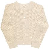 Bonpoint Wool Crochet Cardigan, Beige, Size 3-8
