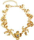 kenneth jay lane golden flower statement necklace with pearly beads
