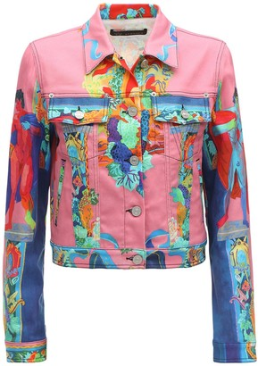 Versace Cropped Vessel Print Denim Jacket