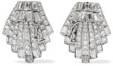 Saint Laurent Silver-tone Crystal Clip Earrings - one size