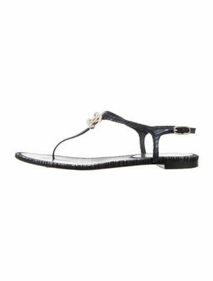 Chanel 2016 Interlocking CC Logo T-Strap Sandals Blue