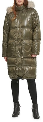 DKNY Faux Fur-Trim Puffer Coat