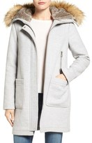 Vince Camuto Women's Wool Blend Duffle Coat With Faux Fur Trim Hood