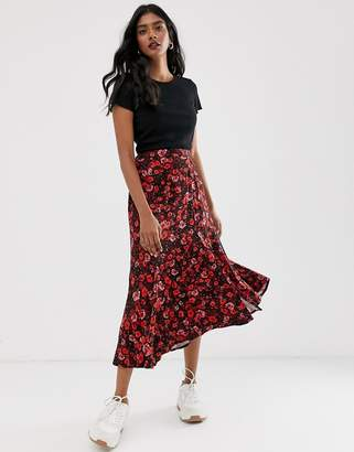 Stradivarius maxi skirt with button front in floral print